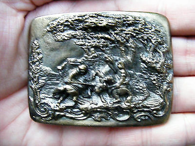 Vtg BULLFIGHTING Belt Buckle ART Nouveau Medieval Bullfight DEZY Pewter RARE VG+