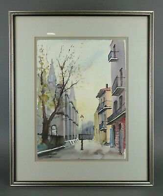 Vintage NESTOR FRUGE Watercolor Painting NEW ORLEANS Louisiana Listed LANTERN
