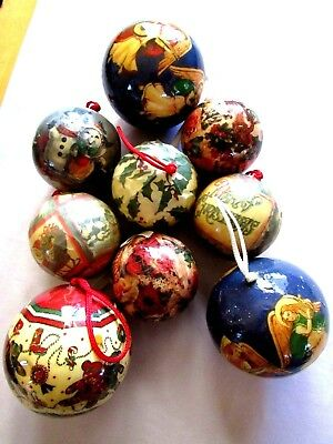 Vintage 9 Paper Mache Christmas Round Ball Ornaments