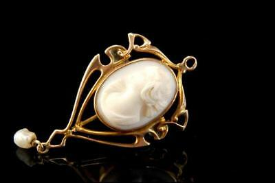 Antique Art Nouveau Lady Cameo Pink Coral 10K Gold Pin Brooch Pendant A16652