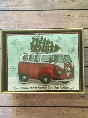 Christmas Cards Boxed Cut Out VW Bus Volkswagen 18 cards and envelopes NEW