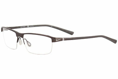 a0a7a24235 Nike Eyeglasses 6052 201 Walnut Dark Brown Half Rim Titanium Optical Frame  59mm
