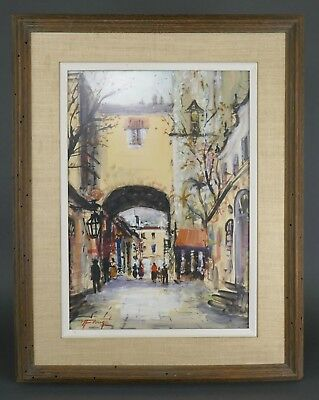 Vintage NESTOR FRUGE Watercolor Painting NEW ORLEANS Louisiana Archway Listed
