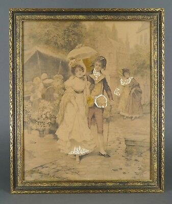 Antique 19th Cent. EDWARD PERCY MORAN Hand Colored Litho American History Scene