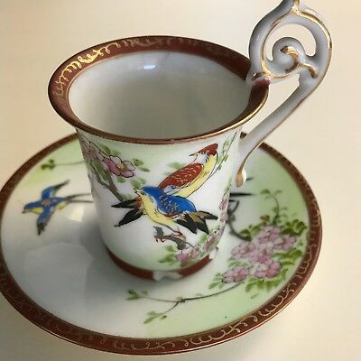 Vintage Hand Painted Demitasse Cup And Saucer made in occupied Japan