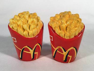 "Mcdonalds Lot of 2 Fry Shaped Salt Pepper Shakers 4""  Treasure Crafts Ceramic"