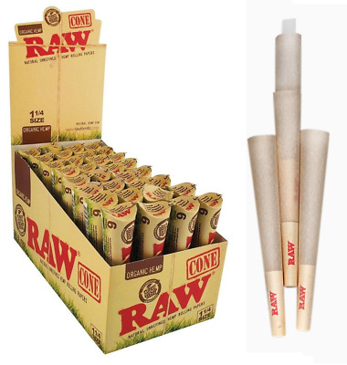 RAW Organic Cone 1 1/4 1.25 - 25 PACKS - Papers 6 Cone Per Pack Pre Rolled