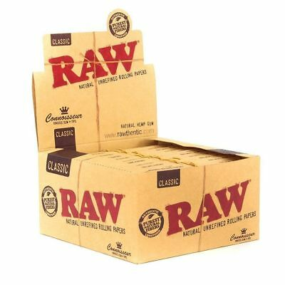 RAW Classic Connoisseur King Size Slim - Box 24 PACKS - Rolling Paper Tips Tray