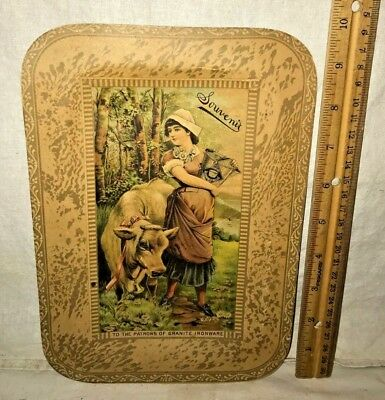 Antique Souvenir Cardboard Tray Sign Patrons Graniteware Ironware Dairy Maid Cow