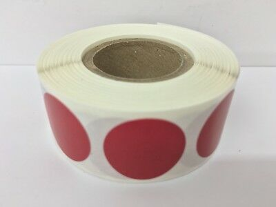 """1"""" Circle CRANBERRY Color Coded Coding Inventory Warehouse Labels 1000/Roll"""