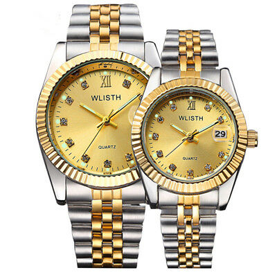 Fashion Couple Watches Women Men Waterproof High-end Gold Stainless Steel Watch