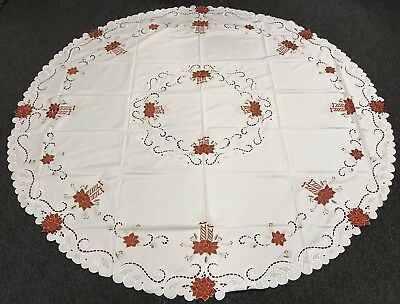 """Christmas Embroidered 90"""" Round Fabric Embroidery Tablecloth 12 Napkins - Cream"""