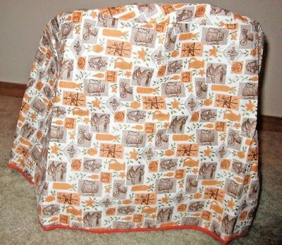 Vintage Retro Stand Mixer/Appliance Cover Brown/Orange Plastic/Vinyl Large Size