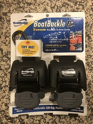 """Boat Buckle F08893 G2 Retractable Transom Tie-Down 2 Pack 5000 Lbs 43"""""""