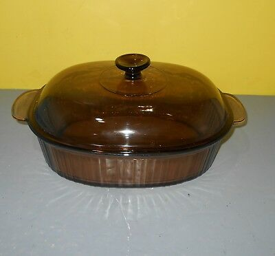 Corning Ware Vision Amber Glass 4L Oval Roaster Casserole with Lid USA