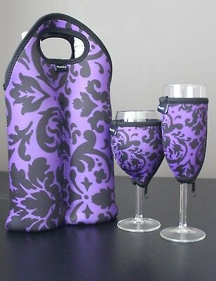 Vintage Purple double bottle carrier, wine glass cooler & champagne glass cooler