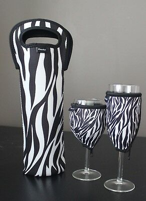 Zebra single bottle carrier, wine glass cooler & champagne glass cooler
