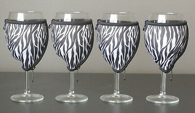 Zebra wine glass coolers x 4