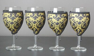 Vintage Gold wine glass coolers x 4