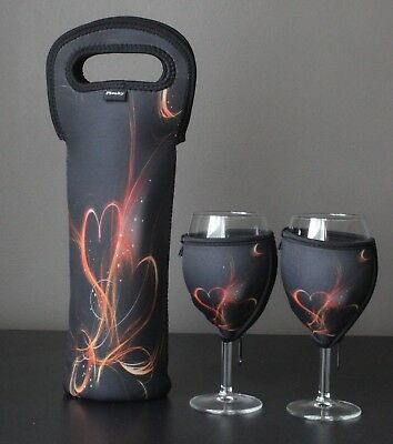 Fiery Heart single bottle carrier and wine glass cooler x 2