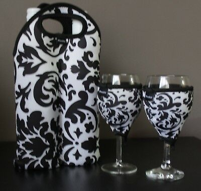 Vintage White double bottle carrier, wine glass cooler x2