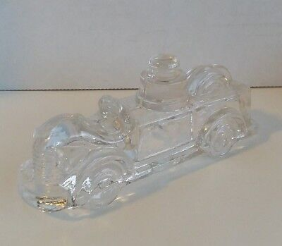 "Vintage Fire Engine Truck Clear Glass Candy Container 2"" Tall"