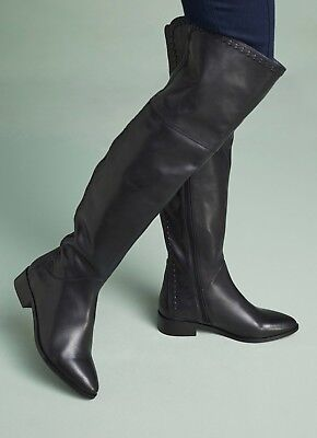 b9eec5d9330 Anthropologie Seychelles Rivel Black Leather Over The Knee Boots Size 7