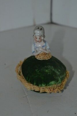 """Vintage Porcelain Victorian Pin Cushion Doll Japan Green Lace 3.5 by 2.5"""""""
