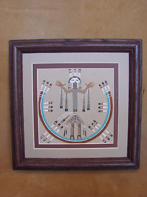 Native American Indian Authentic Navajo Sandpainting by Lester Johnson SP026