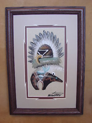 Native American Indian Authentic Navajo Sandpainting by  Michael Watchman SP023