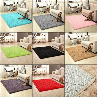 Home Bedroom Fluffy Mat Anti-Skid Shaggy Area Rug Dining Room Carpet Floor Rugs