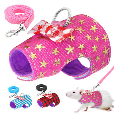 Small Animal Harness Guinea Pig Forret Hamster Vest Clothes Lead Blue Pink Red