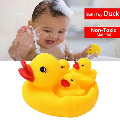 4pcs Baby Bathing Floating Rubber Squeaky Ducks Bathing Pool Tub Toys for Kids A