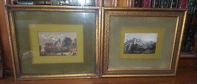 Pair of Antique framed Hand Painted Colored Engravings - Paintings FREE US S/H