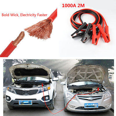 2M Heavy Duty 1000 A Car Battery Jump Starter Leads Booster Cable Emergency Tool