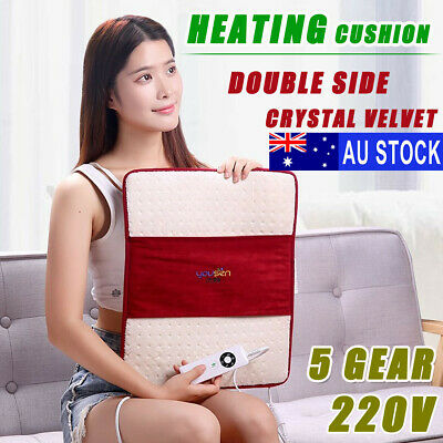 AU Electric Heated Pad Heat Mat Feet Cushion Neck Back 5 Gear Pain Relief Body