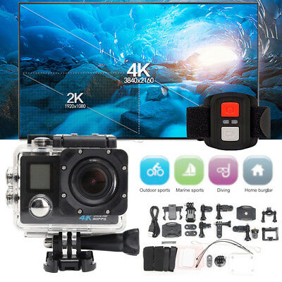"""PRO Cam WiFi 4K 16MP 2.0"""" LCD Dual Screen Sports Action Camera Remote Control H2"""