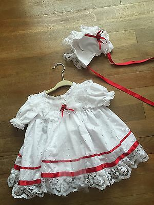 Baby Girls Dolls  Vintage Romany Lace Broderie-Anglais 3 -6 Months Dress & Hat