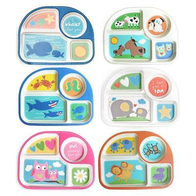 Baby Cartoon Animal Plate Kids Toddler Feeding Bowl Tableware Dinnerware Sets