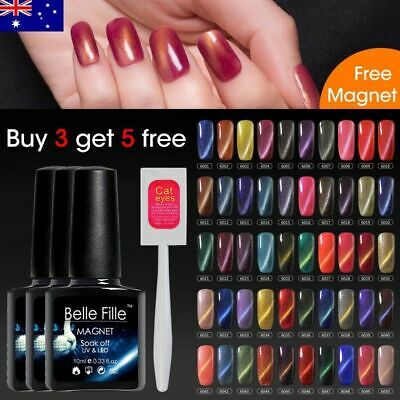 3D Cat Eye Gel Nail Polish UV LED Get FREE Magnetic Stick Lacquer Belle Fille