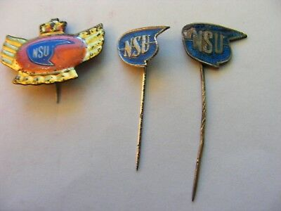 Lot of 3 NSU  Motorcycle very old pin badges,including 2 enamel stickpins.