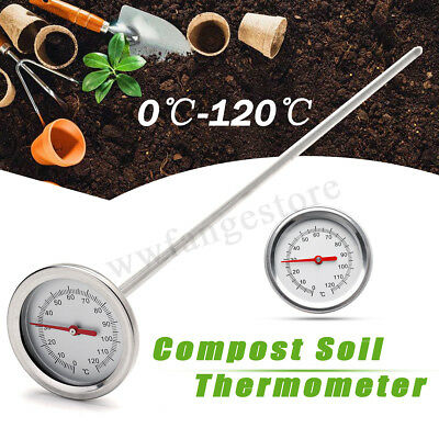AU Compost Soil Thermometer Garden Bimetal Stainless Steel Measuring Probe TOOL