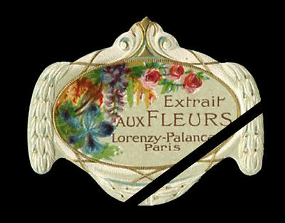 French Perfume Label: Antique Embossed Extrait Aux Fleurs, Palanca Paris