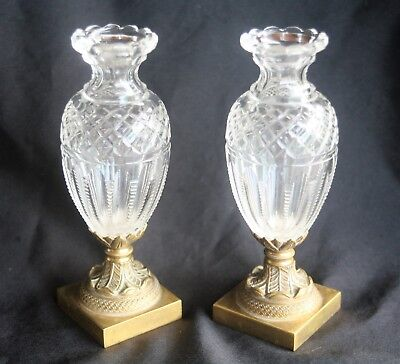 Paire De Vases-Cristal-Bronze Dore-Epoque Restauration-Decoration-Objet Monte-