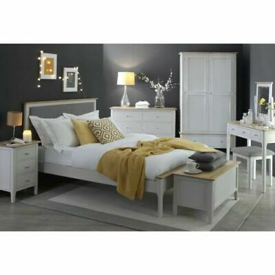 Manor House Stone Grey Painted Kingsize Bed 8 Piece Complete Bedroom Set