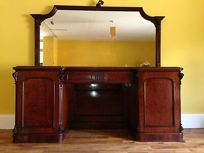 Antique Victorian Mahogany Large Sideboard with Mirror
