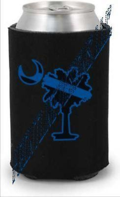 Blue Line Palmetto Tree Can and Bottle Koozie