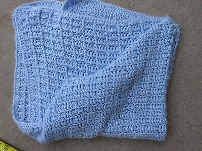 """Vintage Blue Crocheted Baby or Lap  Blanket Super Soft Preowned 36""""x30"""""""