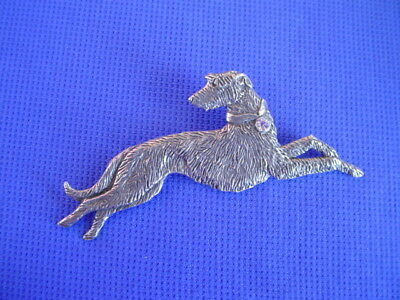 Scottish Deerhound Pin Pewter Crystal LEAPING sighthound dog jewelry by CAC 16E