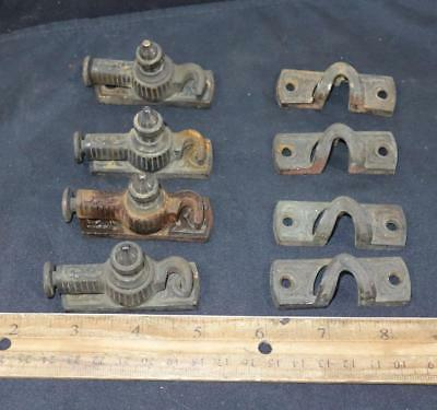 RARE 4 Sets Antique Victorian Window Sash Latch Lock Catch Arts Craft Brass !